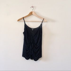 DKNY Black cami tank top silk draped touched small